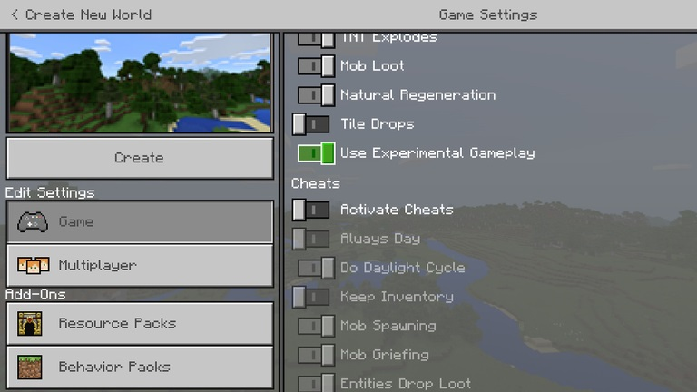 enable experimental features minecraft bedrock img2