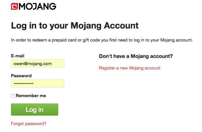 Mojang redeem gift code