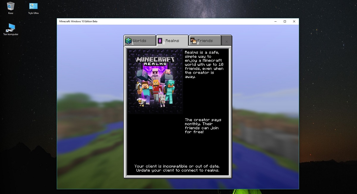 realms minecraft windows 10 beta